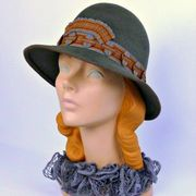 Grey Fur Felt Hat - Rust and Gray Ribbonwork Trim - Modern Cloche