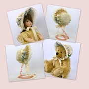 straw and lace doll  bonnet