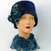 Blue Patterned Felt Cloche Hat