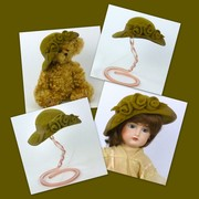 Doll or Teddy Bear Khaki Green Felt Hat