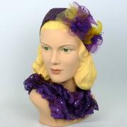 Purple Beaded Headband Fascinator Hat - Hand Beaded