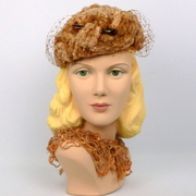 Caramel Colored Chenille Toque Fascinator Hat