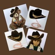 Doll or Teddy Bear Brown Felt Cowboy Hat