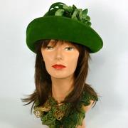 Deep Olive Green Velour Felt Hat