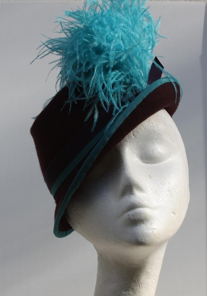 Purple Riding Hat Victorian Hand Blocked Felt Luxury Millinery Women