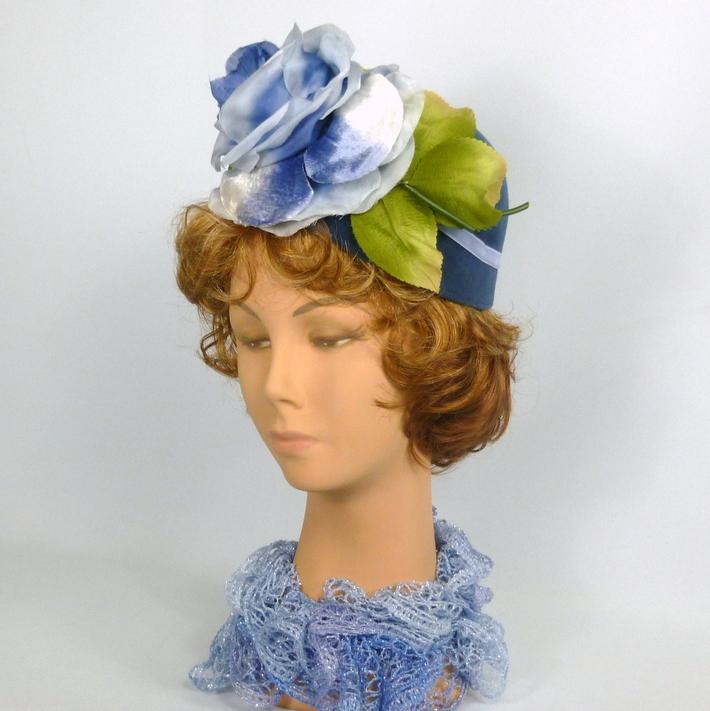 Deep Wedgewood Blue Felt Hat