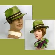 Unisex Lime Green Straw Fedora