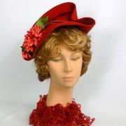 Red Felt Fascinator Cocktail Hat