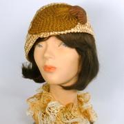 Gold and Brown Straw Asymmetrical Cloche Hat - Vintage Strawbraid