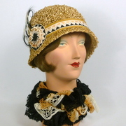 Golden, Black, & Cream Color Popcorn Straw Cloche Hat -