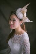 Silk abaca bow on hat