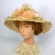 Light Pink Straw & Crin Picture Hat