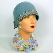 Dark Ice Blue Cloche Hat