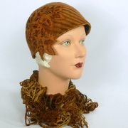 Rust and Brown Striped Cloche Hat