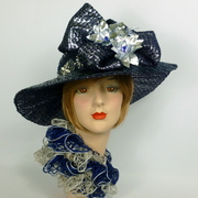 Navy Blue & Silver Straw Kentucky Derby Hat