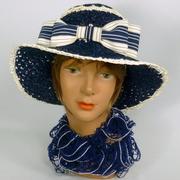 Blue & White Straw Hat