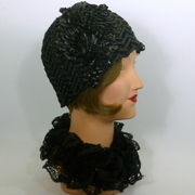 Black Woven Straw Cloche Hat