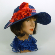 Royal Blue Straw Cloche Style Hat