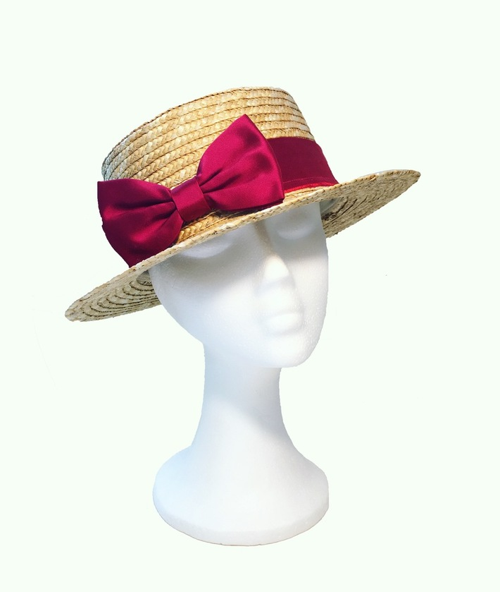 Bow Tie Boater Hat Fascinator Anastasia Frei SS16