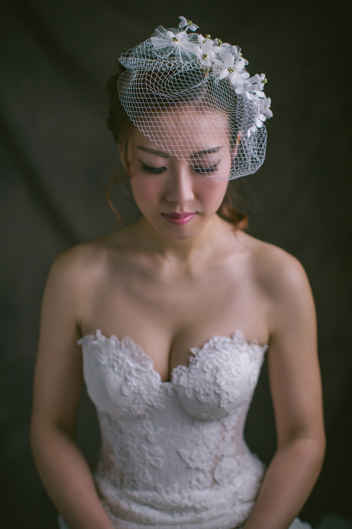 Birdcage veil with velvet flowers