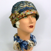 Woven Straw Cloche Hat in Shades of Blue