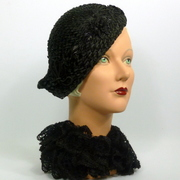 Reproduction 1920's 1930s Style Black Straw Cloche Flapper Hat