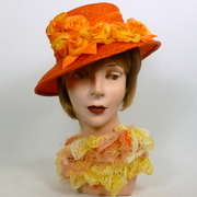 Orange Straw Cloche Hat