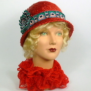 Red Woven Straw Cloche Hat - Ribbon Work Accents