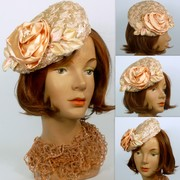 Light Pink Woven Straw with Satin Flower