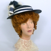 Reproduction Early 1900s Straw Boater in Blue and White