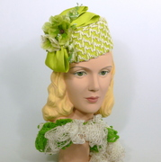 Lime Green & White Pillbox Hat - Silk Dupoini