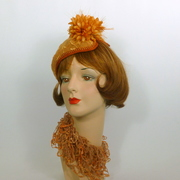 Copper Gold Lace Fascinator Hat