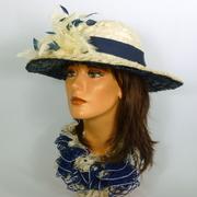 Off White & Dark Blue Straw Picture Sun Hat