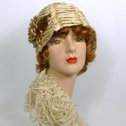 Light Tan Woven Straw Cloche Hat