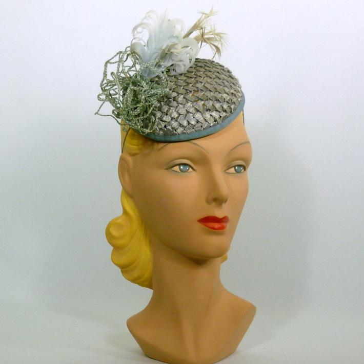Blue Green Straw Fascinator Hat