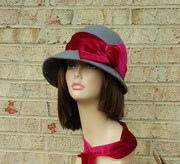 wool felt Gray with burgundy  Vintage Inspired 1920's