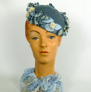 Blue & White 1950s style Pillbox Fascinator