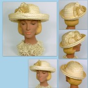 Ivory Straw Bowler Style Hat