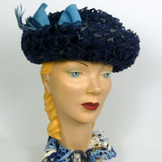 Navy and Light Blue Straw Breton Bowler Style Hat