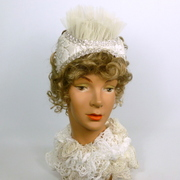 Renaissance Style White and Silver Bridal Fascinator Hat