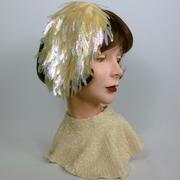 Ivory Sequined Bridal Cocktail Fascinator Hat