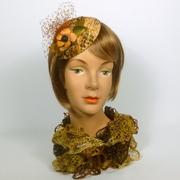 Brown & Gold Snakeskin Patterned Velvet Button Fascinator Hat