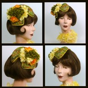 Green, Orange, Yellow Fascinator Hat