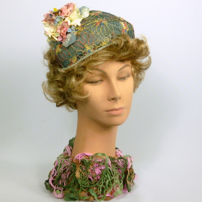 Blue, Pink, Green, Yellow Fascinator Hat