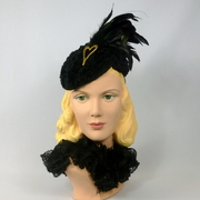 Black Chenille Toque Fascinator Hat