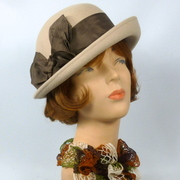 Tan Felt Hat - Vintage Brown Ribbon