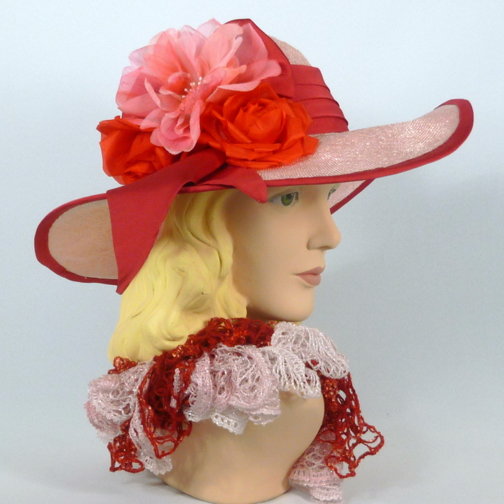Pink Kentucky Derby Straw Sun Hat