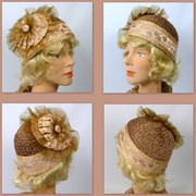 Taupe Woven Straw Cloche Hat