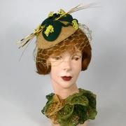Beige Felt Button Fascinator - Vintage Chenille Frogs