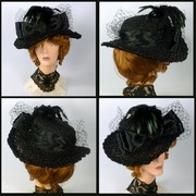 Reproduction Black Straw Victorian Edwardian Hat